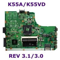 K55A Mainboard REV3.1/3.0For ASUS K55V A55V R500V K55A K55VD Laptop motherboard HM76 DDR3 60 N89MB1301 A04 Tested Free Shipping