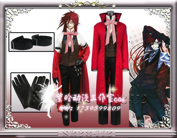 Christmas Hallowmas Anime Black Butler Grell Sutcliff Party Fashion Uniform Suit Cosplay Costume Full Set +wigs Any Size NEW black butler kuroshitsuji grell sutcliff cosplay wigs long red synthetic hair women girl anime party wig red glasses chain