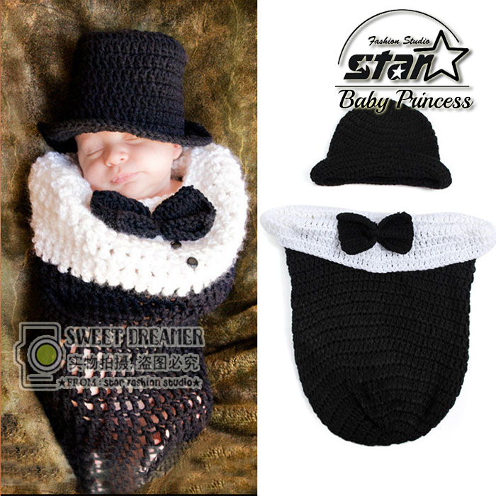Handmade Infant Baby Knit Costume Beanies And Sleeping Bag Newborn Character Gentleman Photography Prop With Woolen Hat