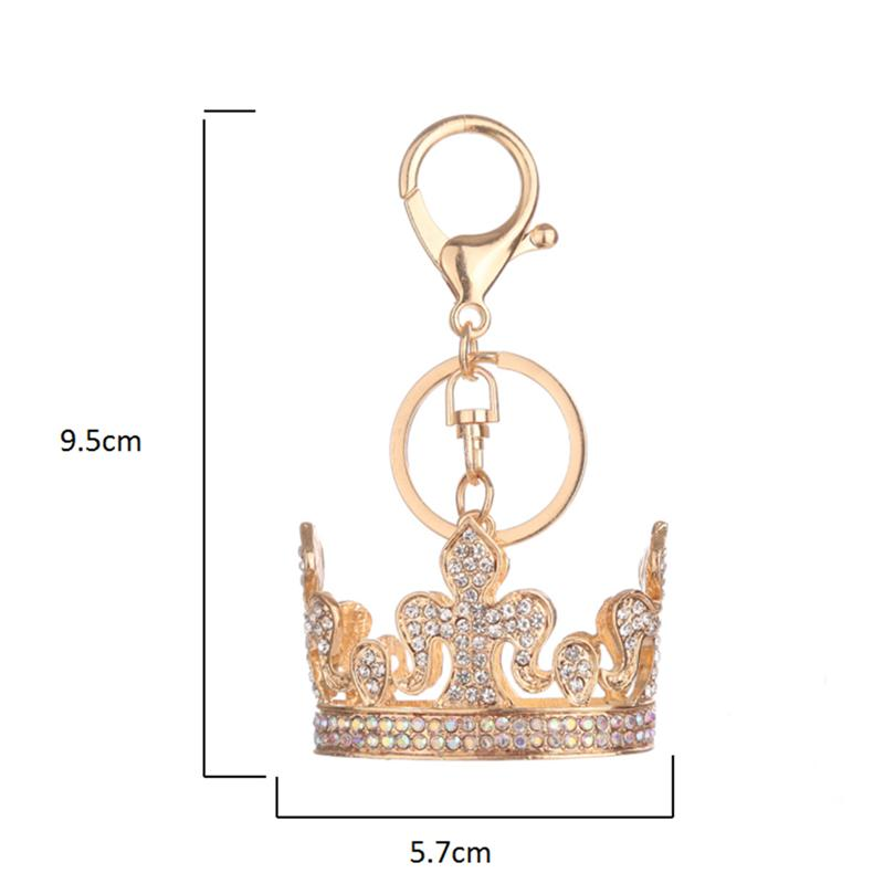 Creative Diamond Encrusted Alloy Key Ring Crown Shaped Charm Keychain Bag Pendant Jewelry Car Decoration Champagne Color in Party Favors from Home Garden