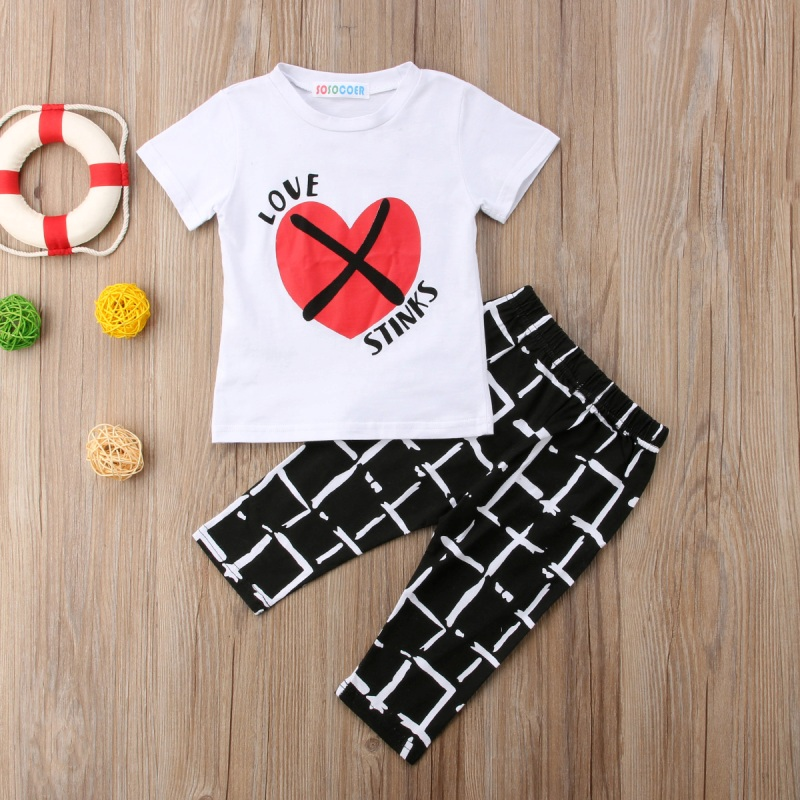 2PCS Baby Kid Girl Clothes Outfit Floral short Sleeve Tracksuit Top Tee Pants Baby Boy Short Sleeve Printed Striped Set White