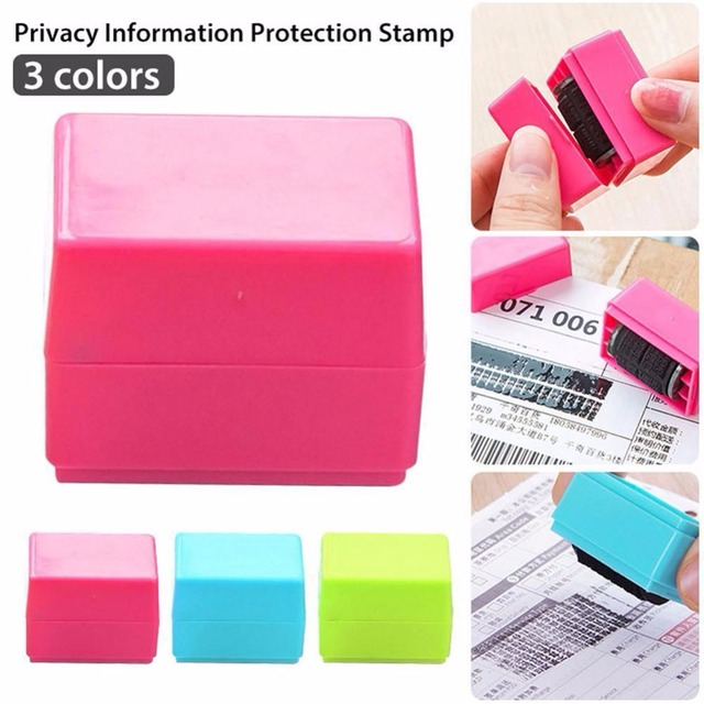 3 Colors Safe Roller Stamper Identity Theft Protection Security Stamp Seal Self Guard ID