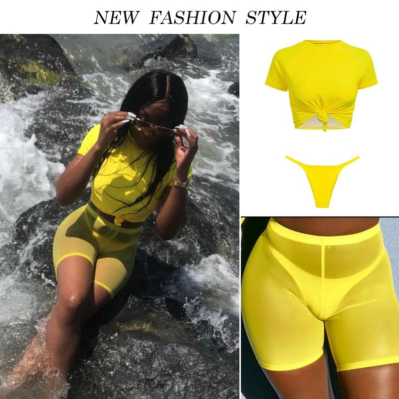 HTB1XplSaEzrK1RjSspmq6AOdFXan Knot crop top bikini 2019 Leopard swimwear women bathers Yellow push up swimsuit female T-shirt thong bikini sexy bathing suit