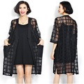 Summer large size ladies fashion fat loose plus size design cardigan black see through shirts trench for women
