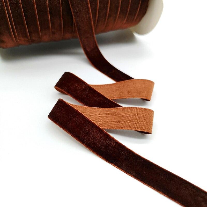 5 ярдов 6-25 мм бархатная лента для украшения свадебной вечеринки ручная работа лента для упаковки подарков бантик для волос DIY Рождественская лента - Цвет: Dark Coffee