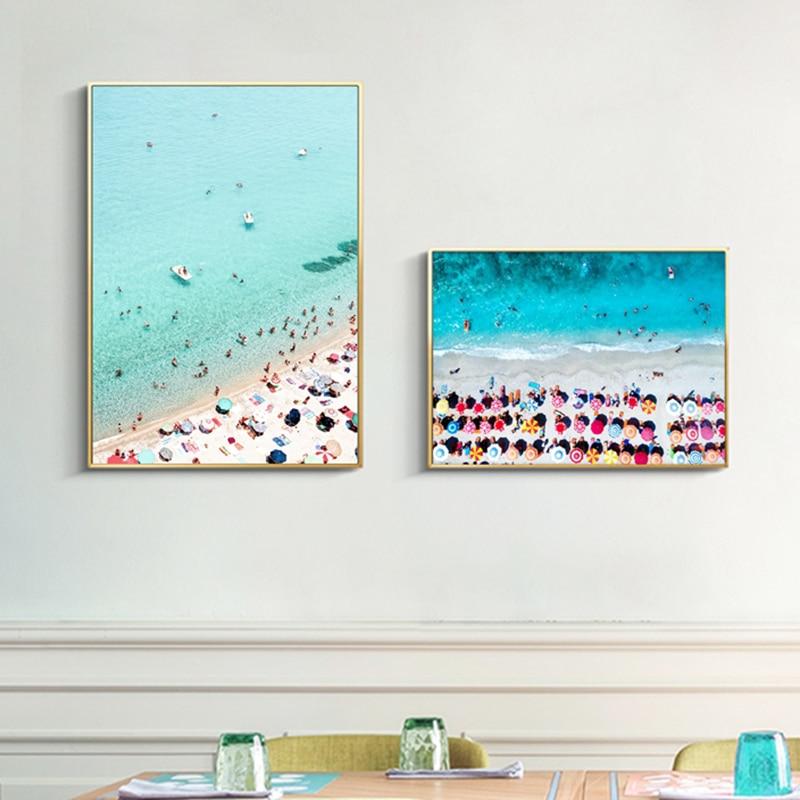 Affiches murales de photographie de plage aérienne | Parapluie, toile dart de paysage sur le bord de la mer, peinture dimages de sarcelle, décor mural pour la maison