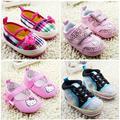 Historieta linda hello kitty zapatos de bebé transpirable zapatos zapatos de bebé primeros caminante del niño zapatos de las niñas prewalkers