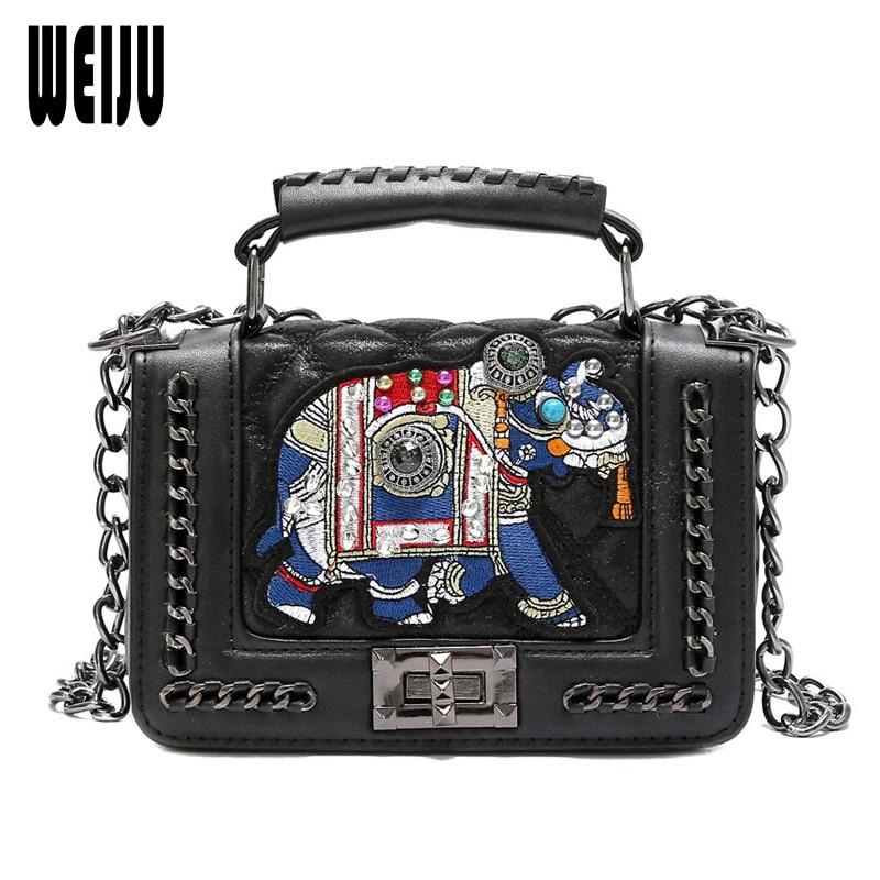 WEIJU Fashion Women Messenger Bag New Hot Brand PU Leather Chains Shoulder Bag Embrodiery Elephant Handbags Women Crossbody Bags
