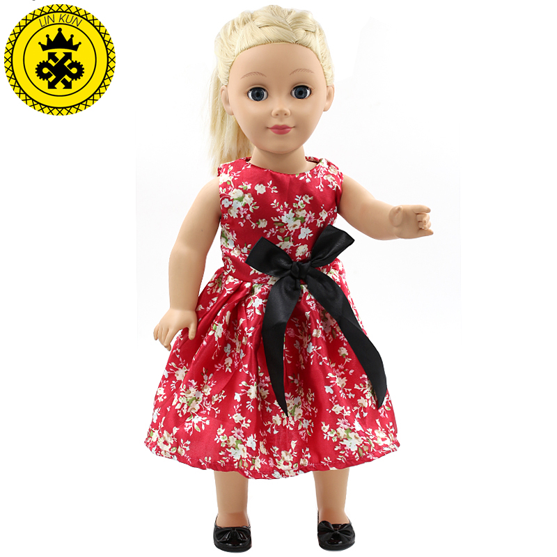 Small Floral Multicolor Printing Bow Princess Dress American Girl Dolls Clothing of 18 inch Doll Dress 2 Colors MG155-156
