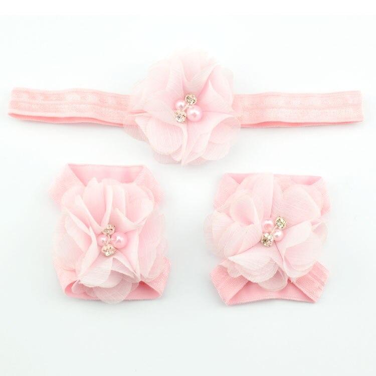 Детская повязка на голову; Детские босоножки ботинки со стразами и цветами; комплект с повязкой на голову; обувь; реквизит для фотосъемки; Детские аксессуары для волос - Цвет: pink