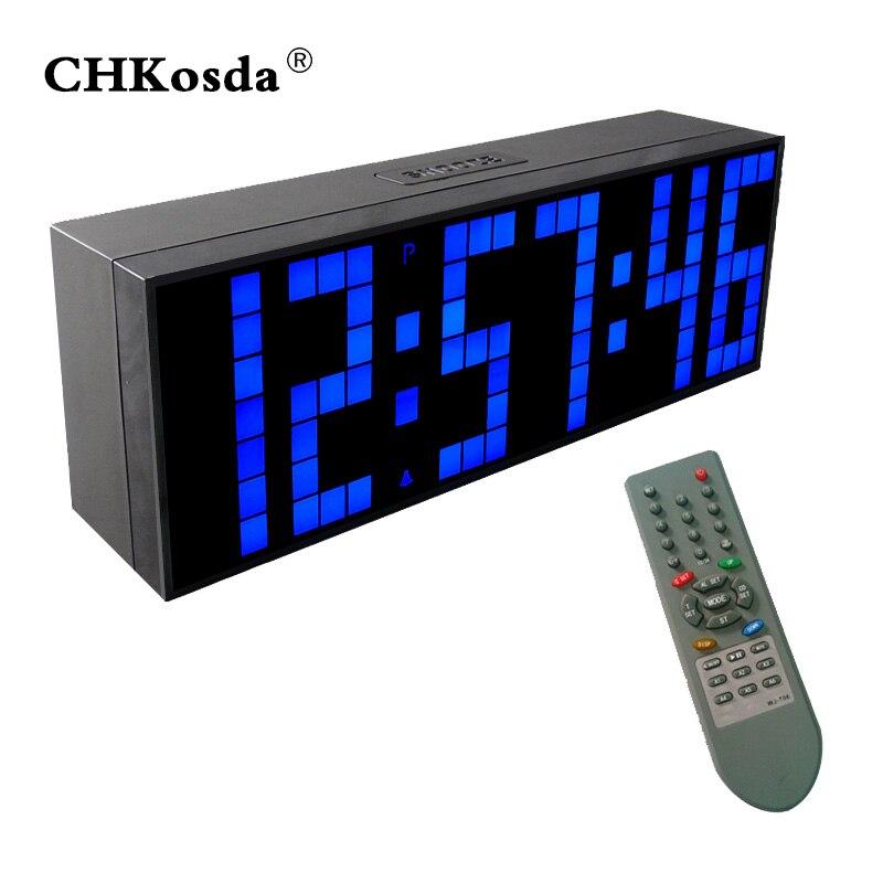CHKOSDA Remote Control Digital Alarm Clock Alarm System Smart Clock Weather Station Calendar Temperature Display LED Wall Clocks