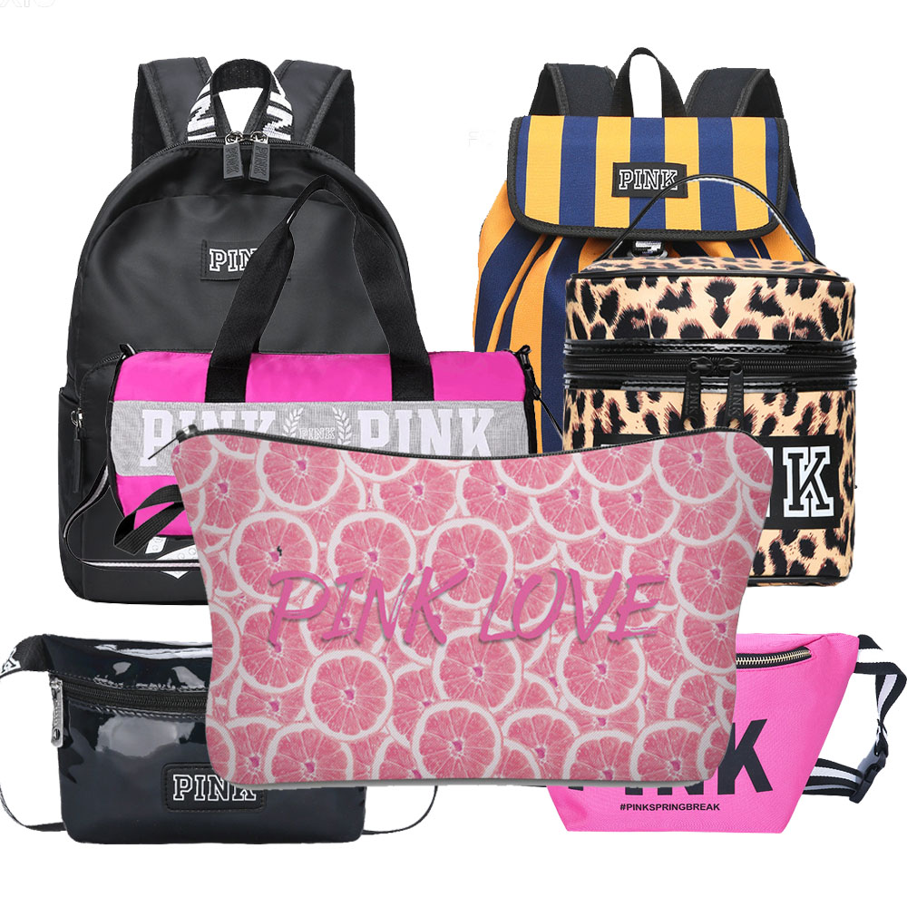 Whosale Many New Style Pink Travel Bags Waist Bags Large Capacity  Waterproof Bag Letter Pattern Shoulder Gym Bags