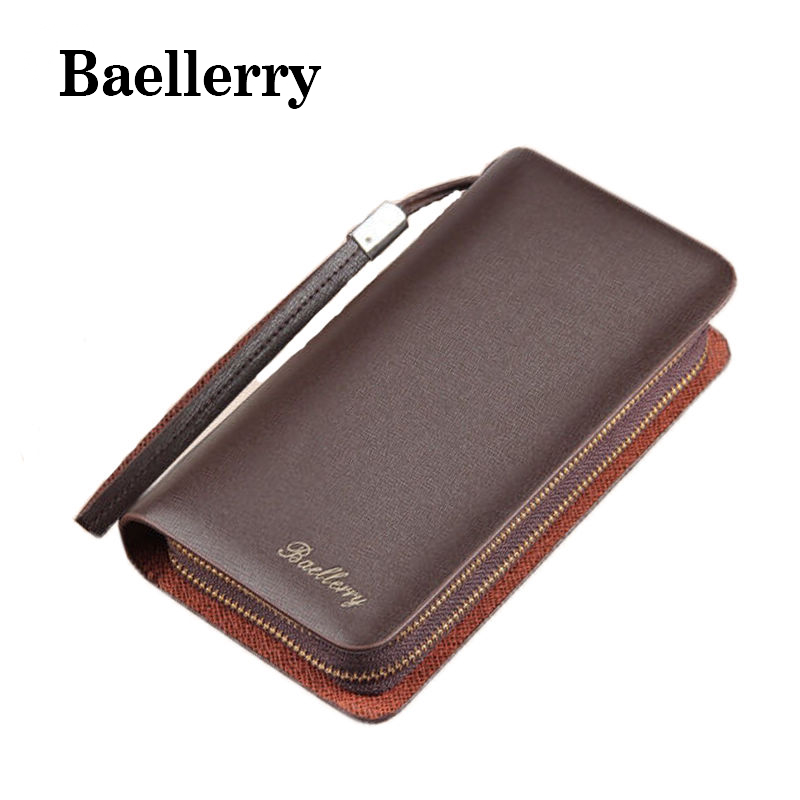 Baellerry Fashion Pu Leather Men Wallet Brand Men Long Wallets Double Zipper Coin Purse Wallets Clutch Bifold Card Holder DB5855 new baellerry pu leather women organizer long wallet bowknot money purse ladies coin phone clutch hand bag card holder pouch box