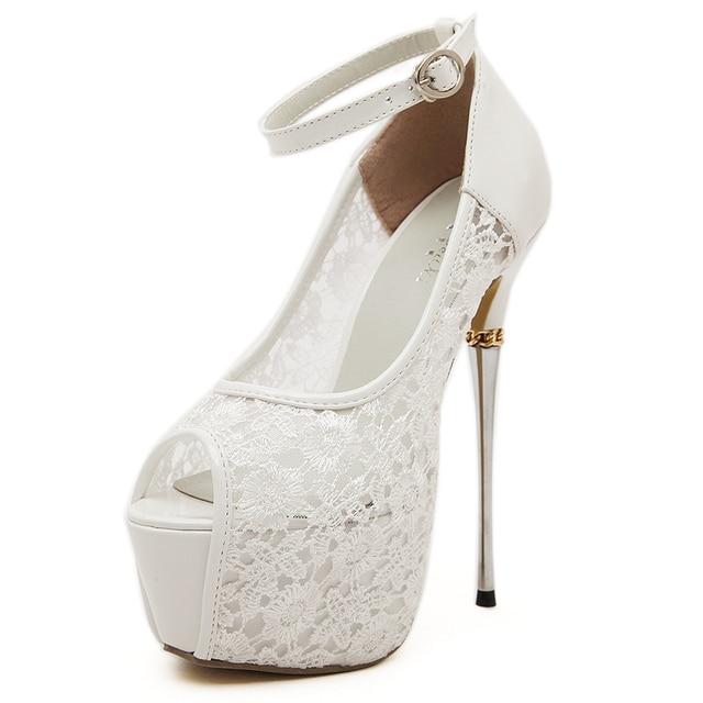 eec7be9682b2 NEW HOT ivory wedding shoes women peep toe stiletto heels 16cm metal heel  6cm platform lace bridal shoes ankle strap pumps F09