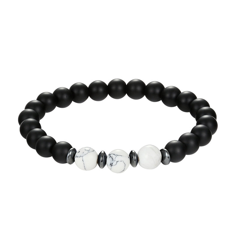 2018 The new model of natural stone bracelet with the pearl of black lava rock black pearl bracelet line 8mm gift of the person