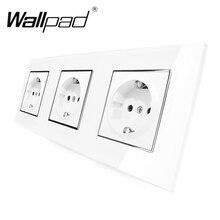 3 EU Shuko Socket Wallpad Luxury White Crystal Glass Triple Frame 16A Plug EU Shuko Standard Wall Socket with Claws Mounting