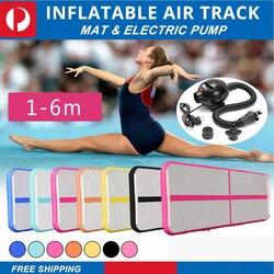 AirTrack cayendo pista de aire inflable gimnasia piso trampolín eléctrico de la bomba de aire para el uso en el hogar/formación/animadoras/playa