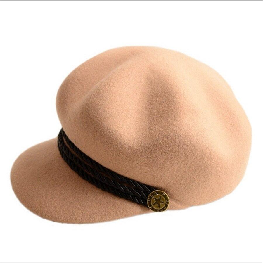 lakysilk 100% Wolle Hut Frauen Baskenmütze Hüte Damen Mädchen Mode Casual Outdoor Caps Warme Weibliche Kappen Hohe Qualität Berets Für Frühling Kopfbedeckungen Für Herren