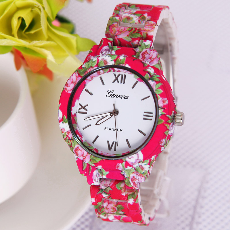 TOP NEW Big Size Flowers Watch Geneva Platinum  Printed FLOWERS  Plastic Band Analog Quartz Women wristwatch Vintage Fashion