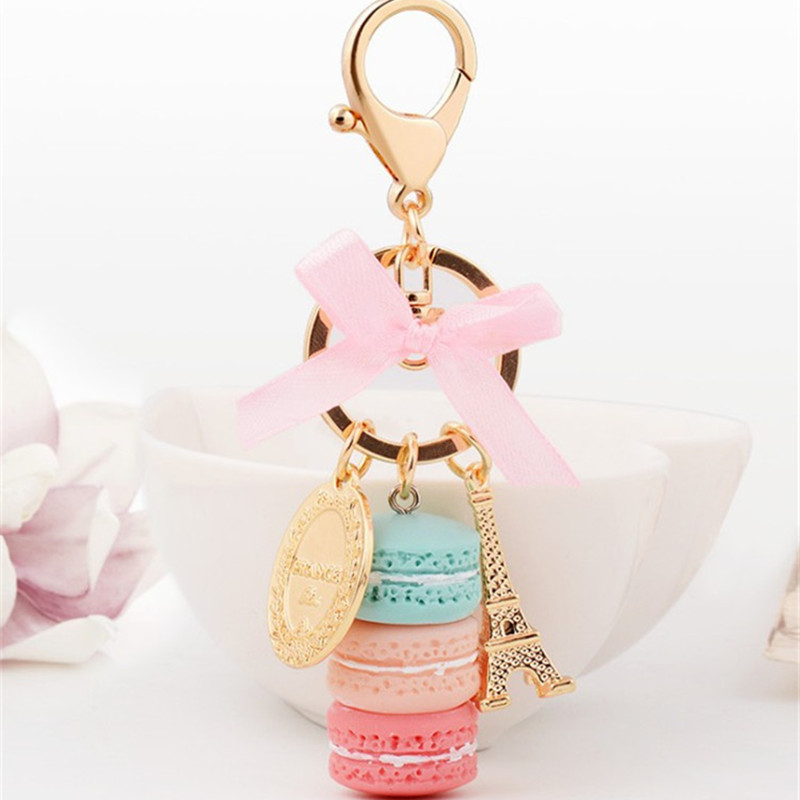 Kreative Macarons Kuchen Schlüsselbund LADUREE Effiel Tower Ribbon Schlüsselanhänger Ring Handtasche Bag Charm Fashion Trinket Wholeasle