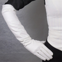 Women PU Leather Gloves Fashion White Long Style Thin Nylon Lined Female 50cm Five Finger Synthetic P12