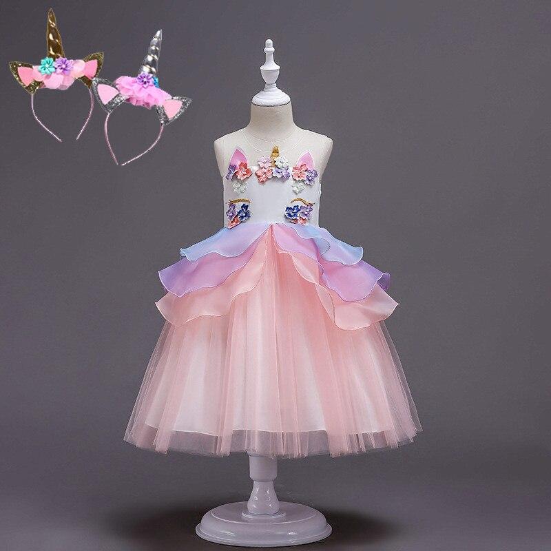41771f59cf3 От 2 до 13 лет необычные детские Единорог Платье с фатиновой юбкой для девочек  вышитая бальное