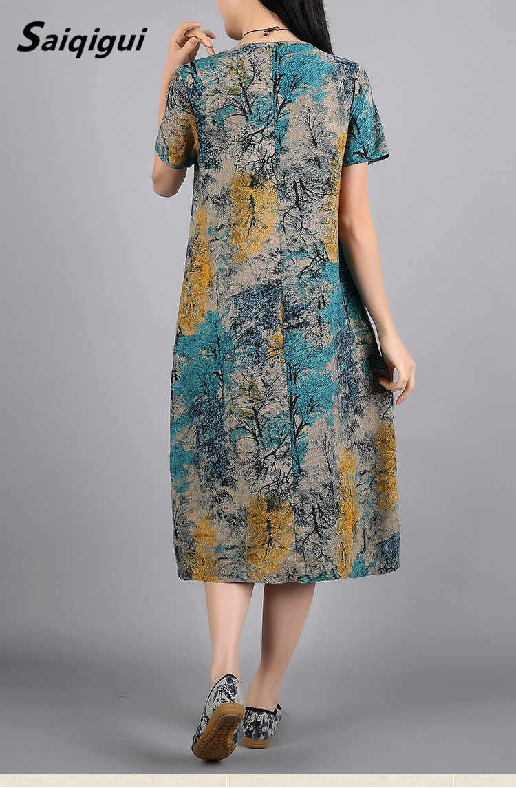 Saiqigui летнее платье с коротким рукавом женское платье Повседневный свободный с принтом хлопковое льняное платье с круглым вырезом vestidos de festa плюс Размер M-5XL