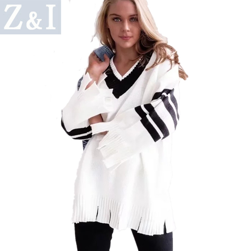 Z&I women sweater autumn winter top fashion V-neck batwing sleeve pullovers warm cloth