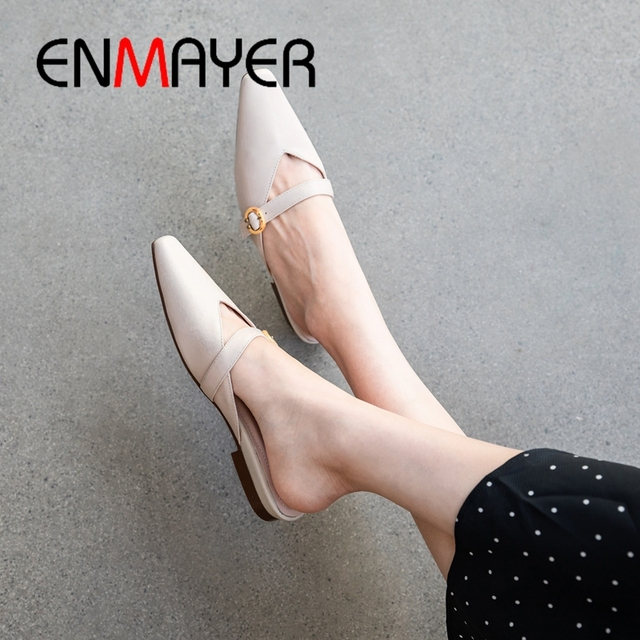 ENMAYER 2019  Genuine Leather Women Low Heel Women Fashion Slippers  Solid  Spring/Autumn Outside  Shoes Woman Size 34-40 LY2061