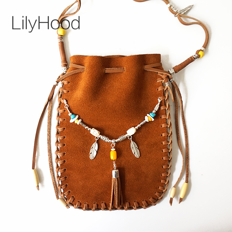 LilyHood 2017 Female Real Leather Small Bag Brown Beaded Hippie Indian Bohemian Boho Chic Music Festival Ibiza Style Pouch Bag chelsea verde hippie chic boho flowy poncho blouse shirt
