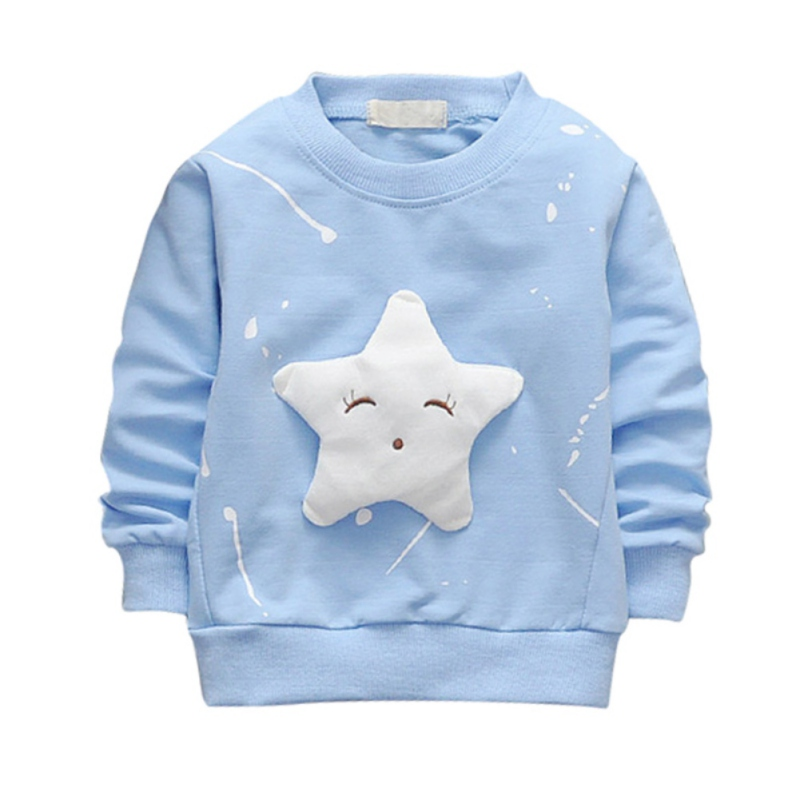 2017 Child T-shirt sweatshirt Autumn Cotton Long Sleeve Star Pattern Printed Casual Style Pullover Kids Boys Girls Hoodies