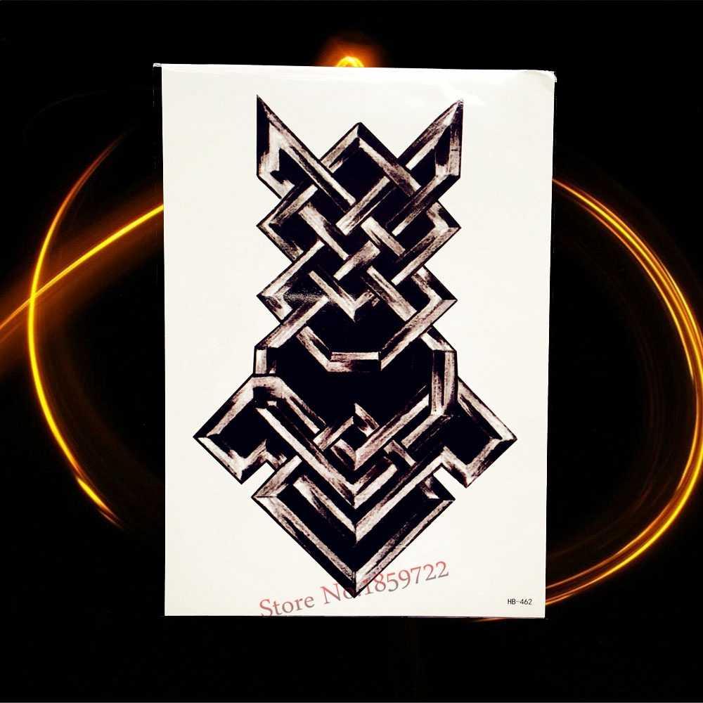 Водонепроницаемый Черный Классический Тотем Временные татуировки стикер для мужчин и женщин на руку тату рукав поддельные татуировки стикер боди-арт наклейки HHB521