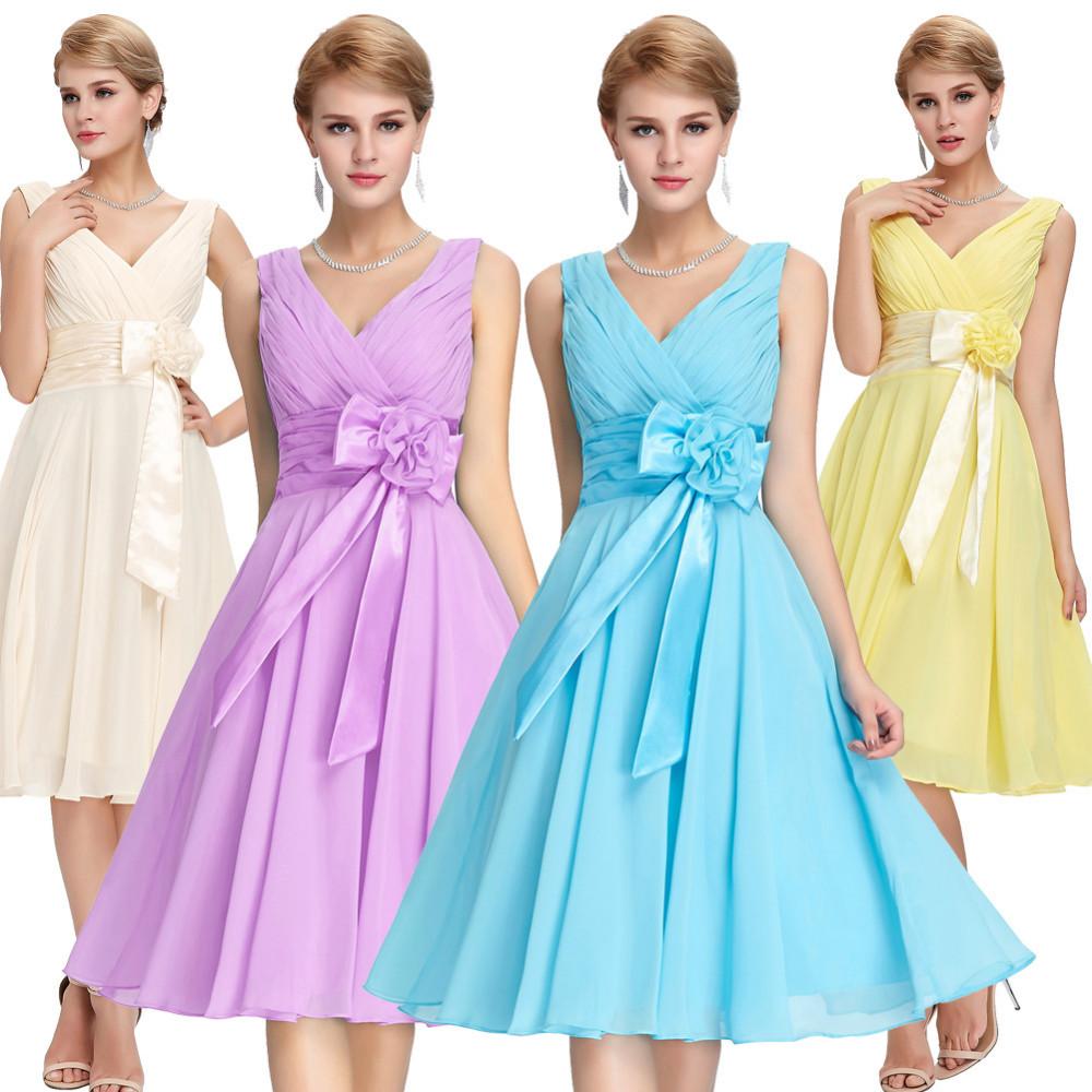 HTB1Xpn2MVXXXXXHXFXXq6xXFXXXLKnee Length Short Chiffon Blue Dress