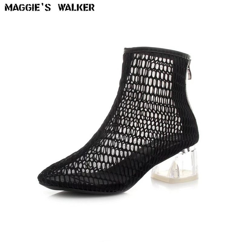 Maggies Walker Women Fashion Mesh Summer Boots Summer Zipper Casual Shoes Pointed-toe Breathable Boots Size 35~39
