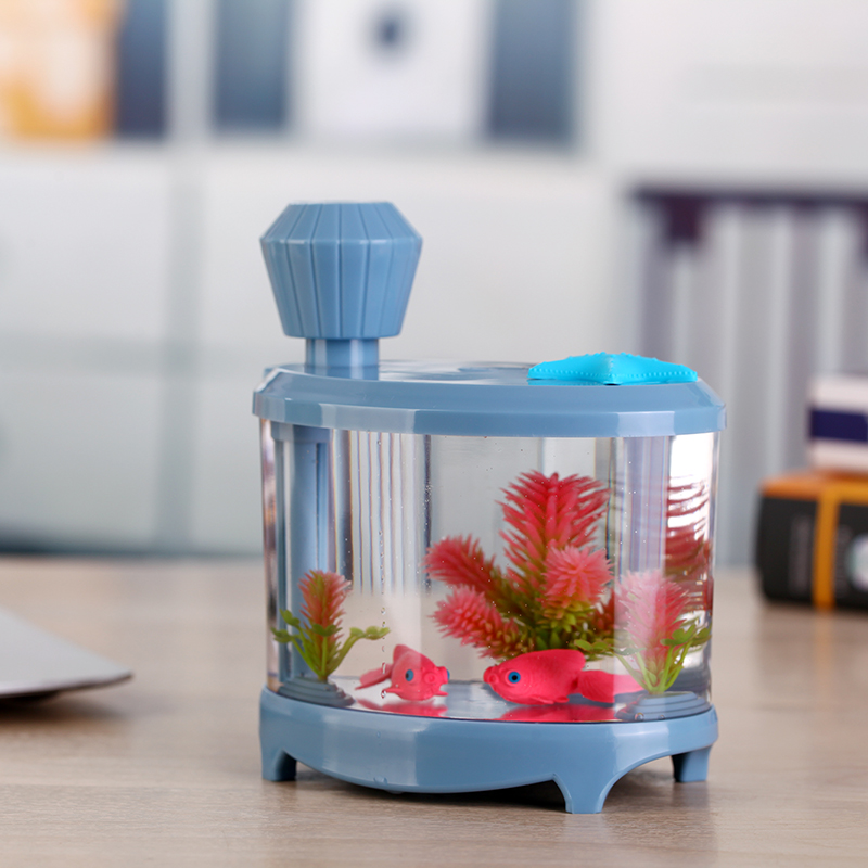 Creative Fish Tank Humidifier Household Mini USB Ultrasonic Air Humidifier Beautiful Night Light DC5V 460ML Aroma Oil Diffuser