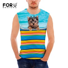 FORUDESIGNS Summer On Holiday Men Tank Tops Shirt Casual Bodybuilding Fitness Vest Sleeveless Shirts Male Singlets Tops Clothes