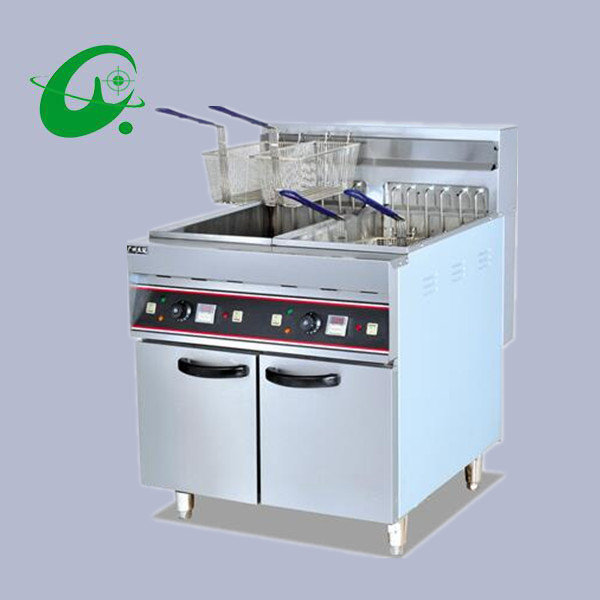 Vertical Electric 2-Tank fryer 4-Basket With timer 56L Capacity French fries Duck Deep Fryer