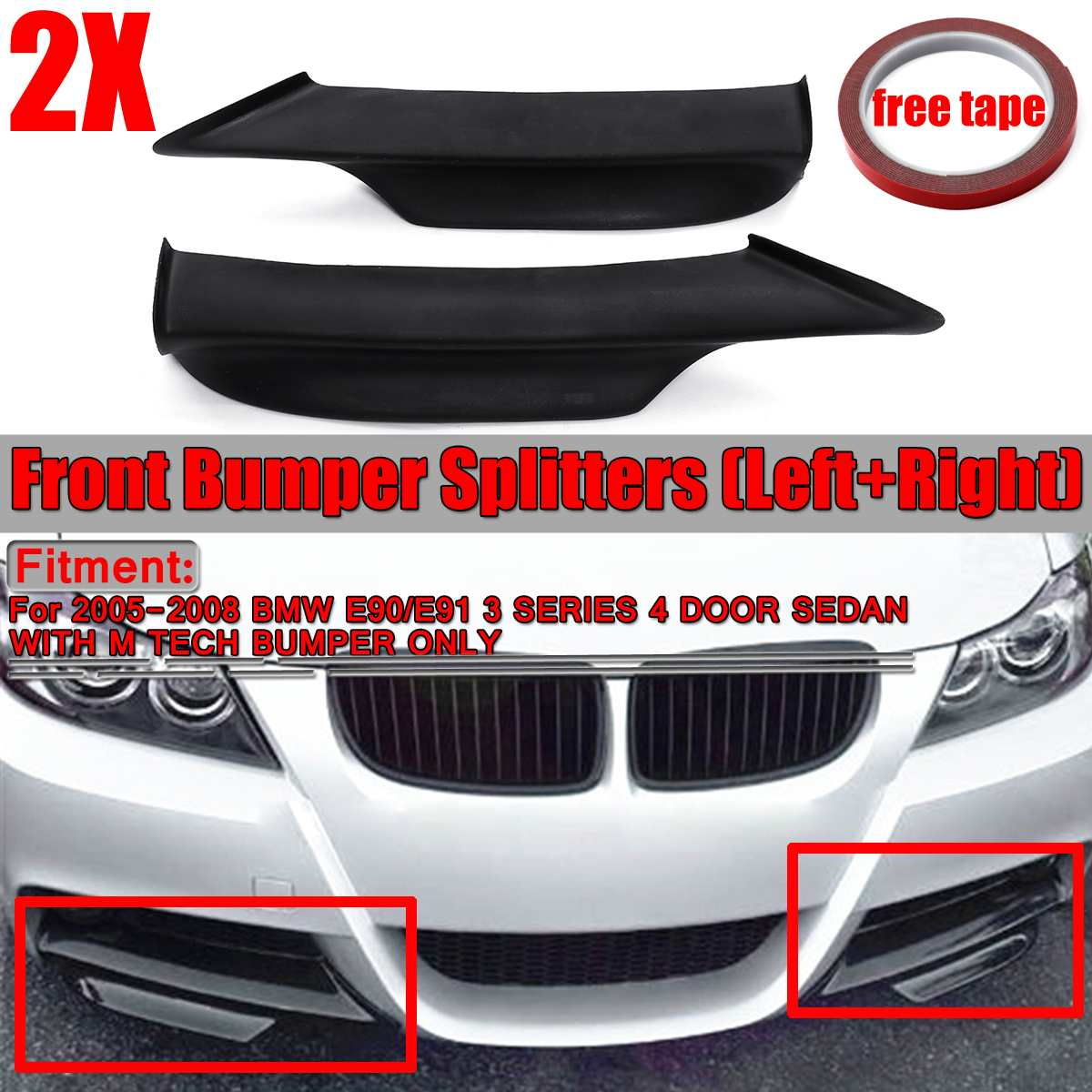2x Black Car Front Bumper Lip Splitter For BMW E90 E91 3 Series 4Dr Sedan M-Tech 2005 2006 2007 2008 Bumper Spoiler Diffuser Lip