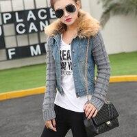 Casaco Feminino Winter Womens Denim Jacket Movable Collar Wool Ladies Coat Bomber Fur winter Jacket Jean Women Basic Coats