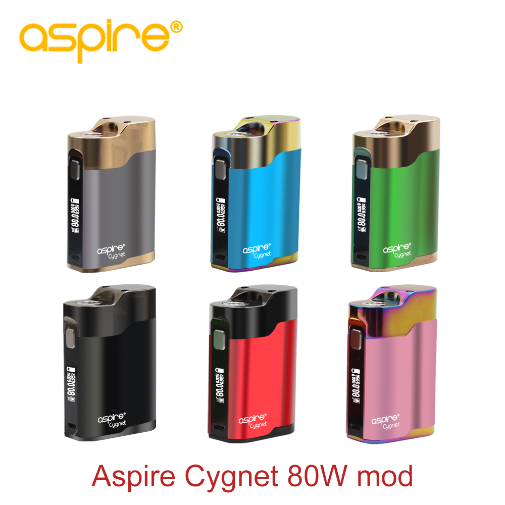 Original Aspire Cygnet 80W Mod 0.6 inch OLED screen Electronic cigarette vape box mod Support by 18650 Battery E-cigarettes Mod