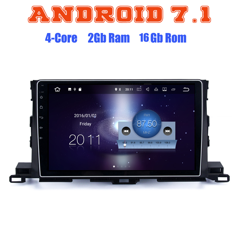 Quad core Android 7.1 car radio gps player for toyota Highlander 2015-2016 with 2G RAM wifi 4G USB radio RDS audio stereo SAT