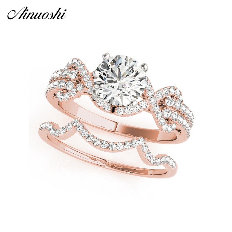 AINUOSHI Trendy 925 Sterling Silver Women Wedding Engagement Ring Sets Rose Gold Color 1ct Round Cut Wave Lover Bridal Rings цена 2017