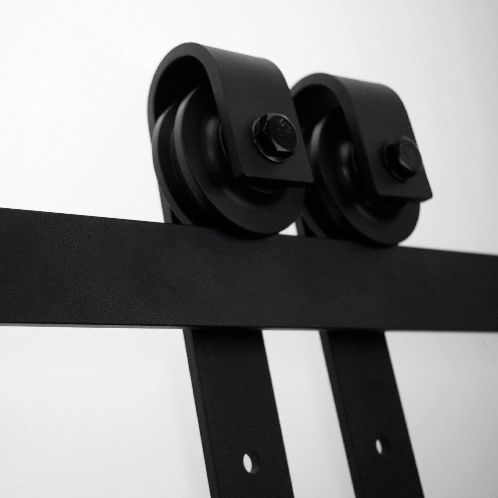 LWZH 4ft 5ft 6ft 7ft 8ft 9ft Kit de quincaillerie de porte coulissante en bois de Style Antique pour porte simple - 3
