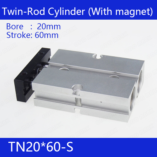 TN20*60-S Free shipping 20mm Bore 60mm Stroke Compact Air Cylinders TN20X60-S Dual Action Air Pneumatic Cylinder tn20 tda twin spindle air cylinder bore 20mm stroke 10 45mm dual action air pneumatic cylinders double action pneumatic parts