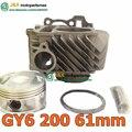 GY6 200 ЦИЛИНДР КОМПЛЕКТ GY7 61 мм ЦИЛИНДРА GY6 200CC GY6 150cc 170cc перейти GY6 200cc для 157qmi 157qmj 4-тактный Скутер Картинг