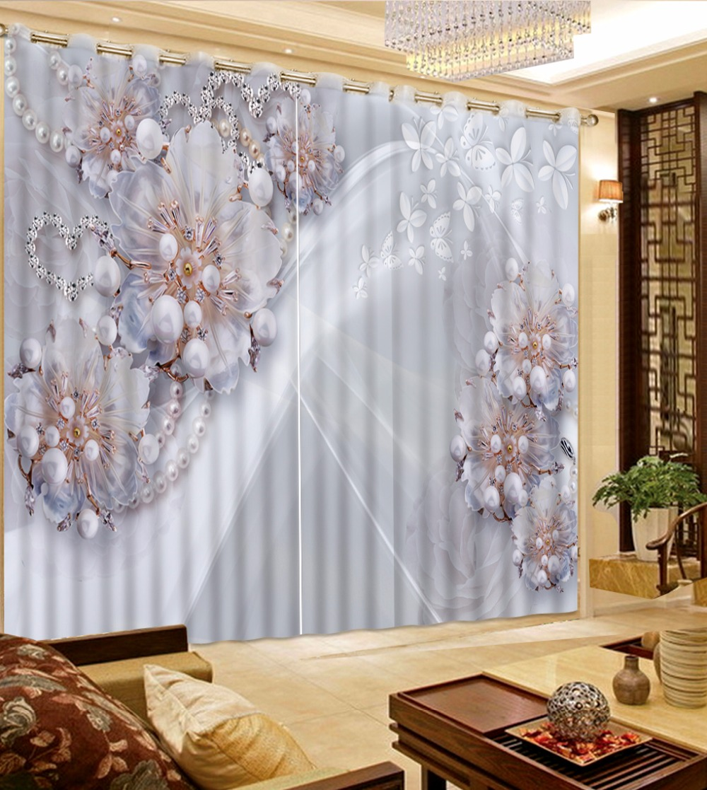 Beautiful Luxury 3D Curtains For Room jewelry flower Curtains For ...