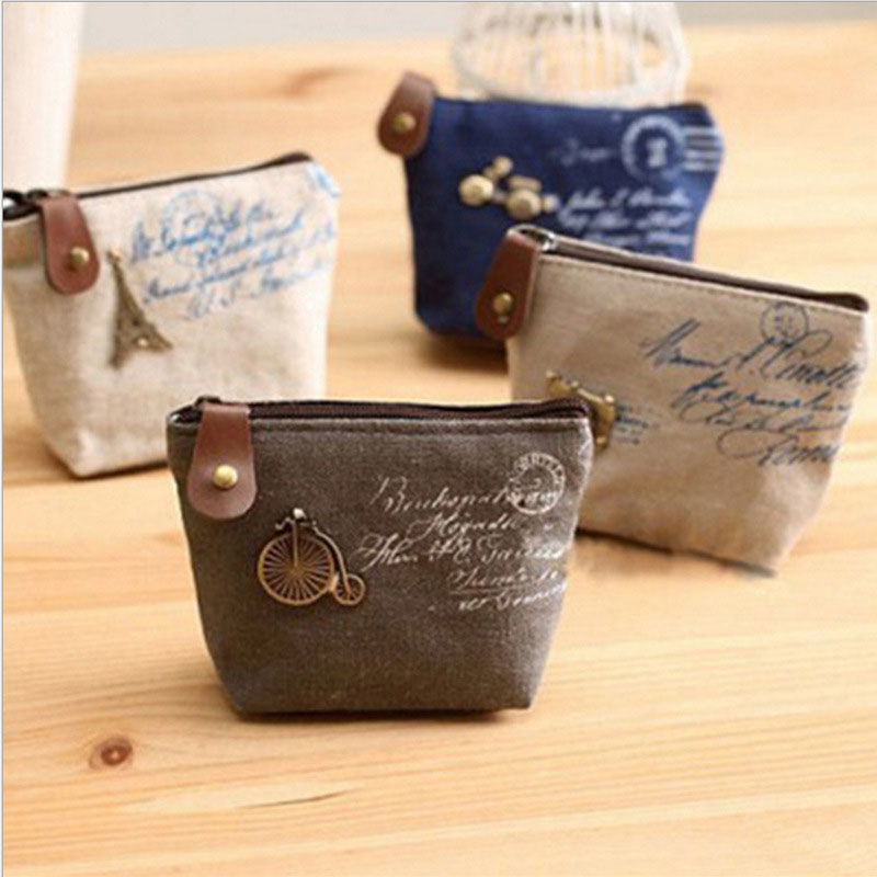 Hot Sell Coin Bags For Women Vintage Paris linen Fabric Wallets Men Coin Purse Retro Simple Zero Wallet Purses Money Holders