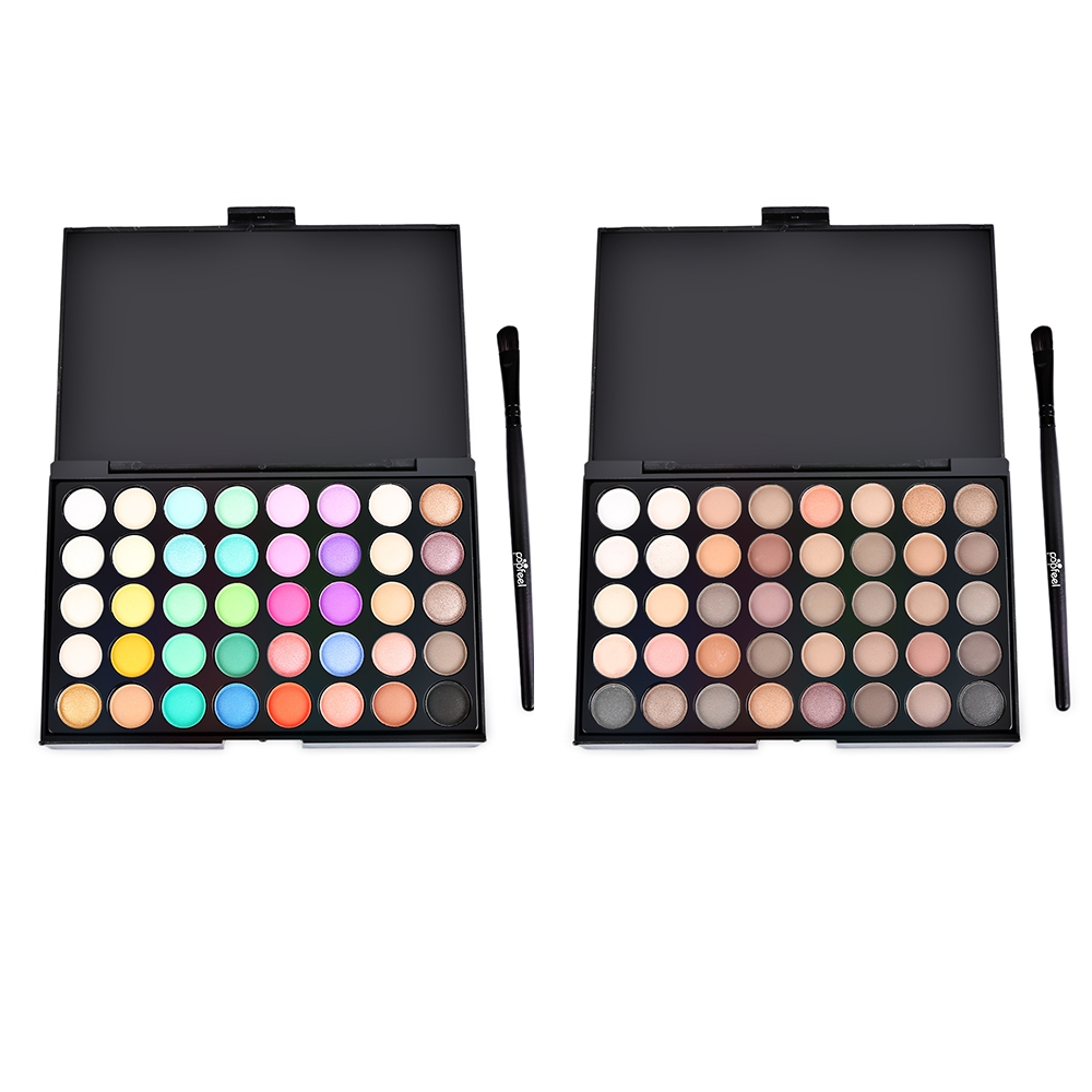 Professional 40 Colors Pearly Matte Nude Shade Eye Shadow with Brush Beauty Cosmetic Eyes Makeup Tool Long-lasting Eyeshadow