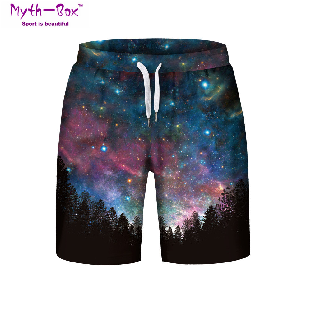 Summer Man's Beach   Shorts   S-3XL Surfing Sports Pants Galaxy 3D Printed Starry Loose Swimming   Short   Male Swim Surf   Board   Swimsuit