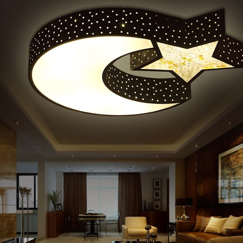US $173.88 8% OFF|Creative LED Ceiling Light personality Boy / Girl Bedroom  Ceiling Romantic Crystal LED ceiling lamps Children lamp Star Moon ZA-in ...